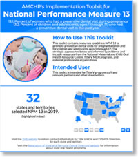 AMCHP's Implementation Toolkit for National Performance Measure 13