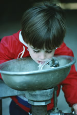 Photo of a boy drinking from a water fountain