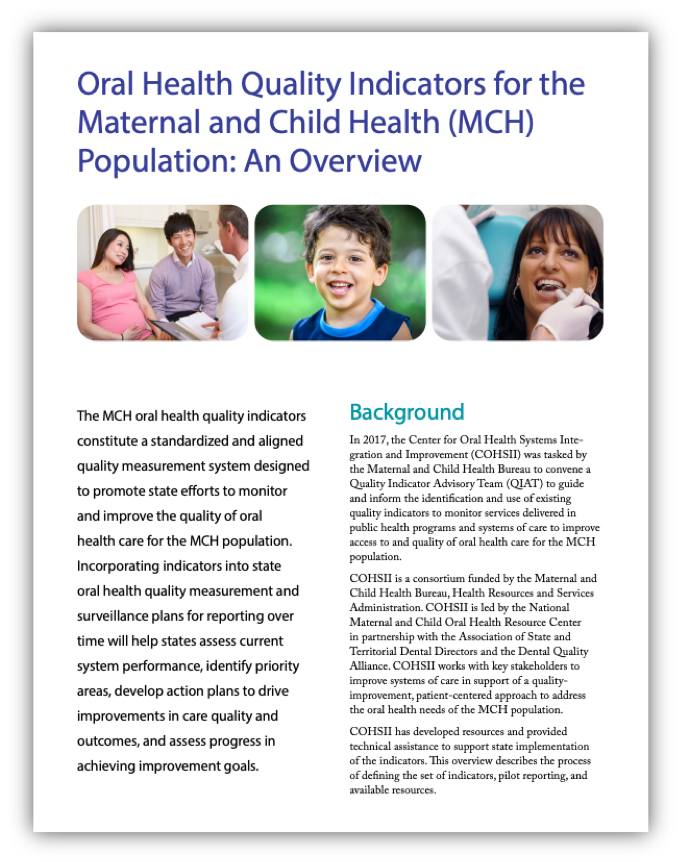 Overview PDF for Oral Health Quality Indicators for the MCH Population
