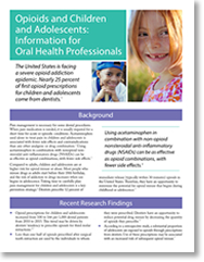 cover of Resource on Opioids and Children and Adolescents: Information for Oral Health Professionals